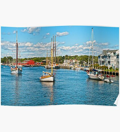 Boat traffic on the Connecticut River, Mystic Ct. USA. Poster