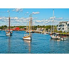 Boat traffic on the Connecticut River, Mystic Ct. USA. Photographic Print