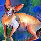 Sphynx Cat portrait #14 painting Svetlana Novikova by Svetlana  Novikova
