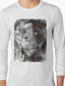 Space Chimp astronaut with tearful eyes and a Space suit takes it's first steps on Moon Red version Long Sleeve T-Shirt