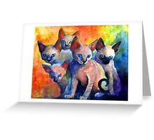 Devon Rex kittens Cat painting Svetlana Novikova Greeting Card