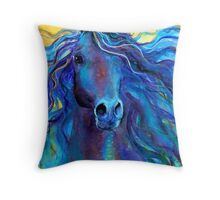 Blue Arabian Horse painting Svetlana Novikova Throw Pillow