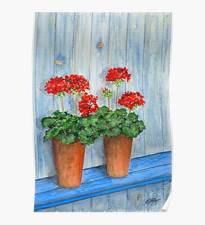 GERANIUMS - WATERCOLOR Poster