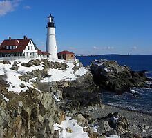 Portland Head Light in Winter Dress by quiltmaker