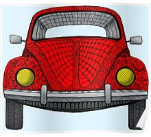 Red VW Bug Poster