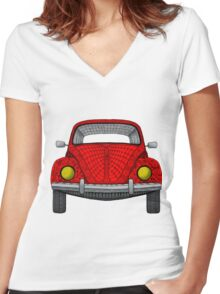 Red VW Bug Women's Fitted V-Neck T-Shirt
