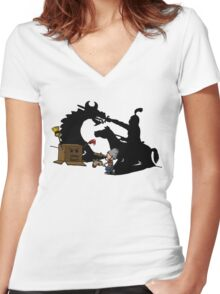 Boy and Box (Knight & Dragon) Women's Fitted V-Neck T-Shirt