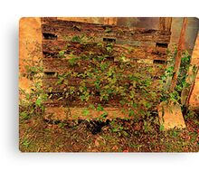 Country Fence With Shovel Canvas Print