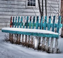 Picket Fence Bench, Longmont Colorado by Timothy S Price