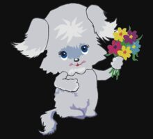Cute Puppy with Flowers One Piece - Long Sleeve