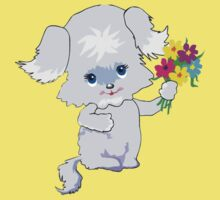 Cute Puppy with Flowers Baby Tee