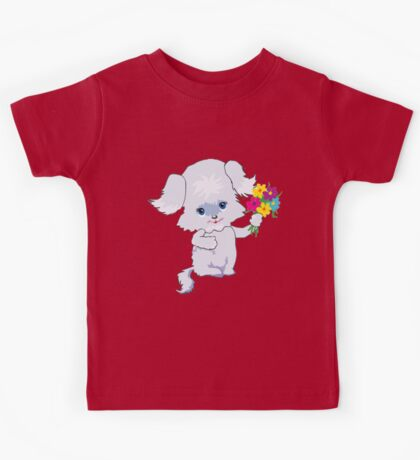 Cute Puppy with Flowers Kids Tee