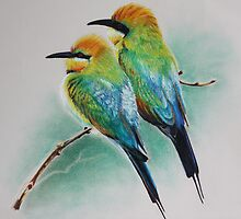 Rainbow Bee Eaters by Jessica  Holliday