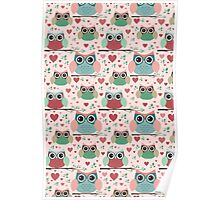 Owls in Love Pattern Poster