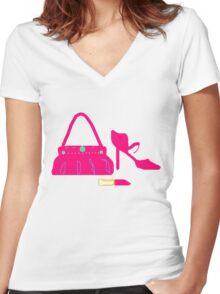 BRIGHT PINK fashion T SHIRT/STICKER Women's Fitted V-Neck T-Shirt