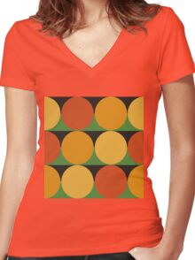 70's retro style dotted pattern Women's Fitted V-Neck T-Shirt