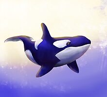 Blue Orca Painting. by Nathanael Mortensen