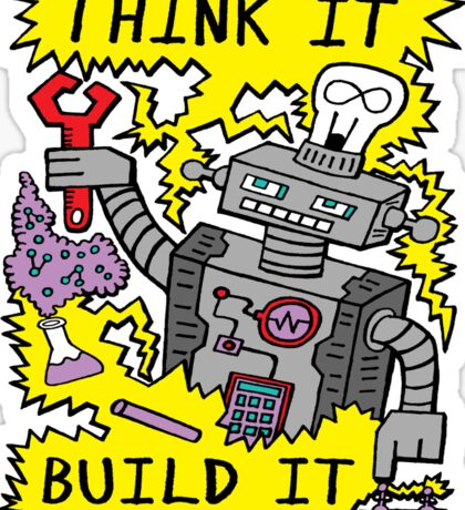 Think Build Robot Sticker