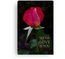 rose bud, me love you Canvas Print