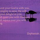 peaceful heron with zeph 3:17 by dedmanshootn