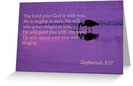 peaceful heron with zeph 3:17 by dedmanshootn