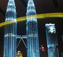 Ribbon of Gold over The Twin Towers by j0sh
