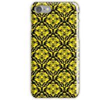 Black And Yellow Vintage Floral Damasks Pattern iPhone Case/Skin