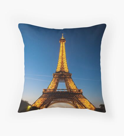 Eiffel Tower and sunset Throw Pillow