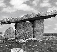 ancient poulnabrone dolmen tomb in black and white by morrbyte