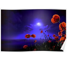 Poppies Blue Poster