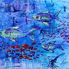 Fishscape with squid by Regina Valluzzi