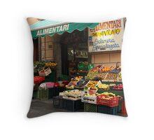 Market in Riomaggiore Throw Pillow