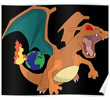 pokemon angry charizard anime manga shirt Poster