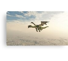 Green Dragon Flying through the Clouds Canvas Print