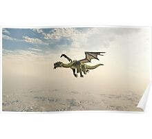 Green Dragon Flying through the Clouds Poster