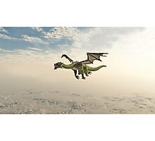Green Dragon Flying through the Clouds Photographic Print