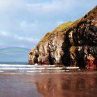 ballybunion beach summer shower rainbow by morrbyte