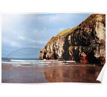 ballybunion beach summer shower rainbow Poster