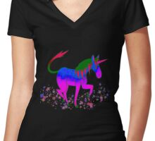 Saturated Unicorn Ver. 3 Women's Fitted V-Neck T-Shirt