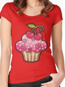 Cherry Berry Cupcake Women's Fitted Scoop T-Shirt