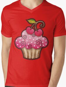 Cherry Berry Cupcake Mens V-Neck T-Shirt