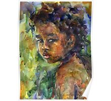 Ethnic Boy watercolor painting Svetlana Novikova Poster
