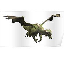 Green Dragon in Flight Poster