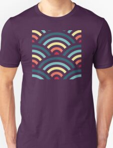rainbowaves (dark) - pattern T-Shirt