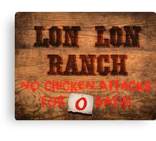 Legend of Zelda - Lon Lon Ranch Sign Canvas Print