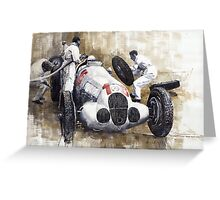 Nurburgring Pit Stop 1937 Hermann Lang MB W125 Greeting Card