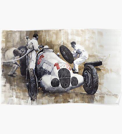 Nurburgring Pit Stop 1937 Hermann Lang MB W125 Poster
