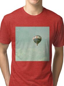 Vintage Red, White, and Blue Hot Air Balloon on Mint Aqua Blue Green Tri-blend T-Shirt