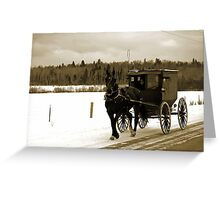Young Amish Girls in Horse and Buggy Greeting Card