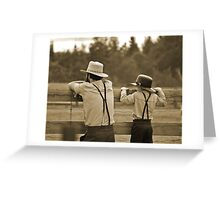 Amish Father and Son Greeting Card